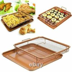 2 Piece Copper Crisper Set Non Stick Oven Baking Tray Crisping Mesh Basket Gift
