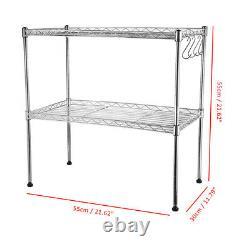 2 Tier Microwave Oven Rack Stand Stainless Steel Kitchen Storage Organiser Shelf