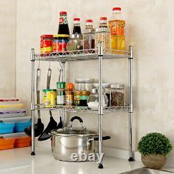2 Tier Stainless Steel Kitchen Storage Organiser Microwave Oven Rack Stand Shelf