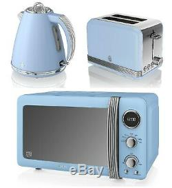 Blue Set Swan Microwave Jug Kettle Toaster Combo Cheap Deal Sale Retro Model