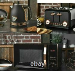 Brooklyn Black & Rose Gold Microwave Kettle & Toaster kitchen Set Multi-add