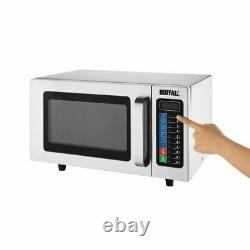 Buffalo Programmable Commercial Microwave Oven in Silver Stainless Steel 1000W