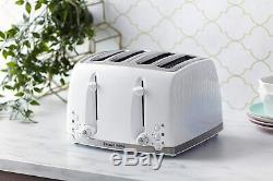 Cordless Electric Kettle & 4-Slice Toaster and Microwave Russell Hobbs Set WHITE