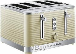 Cream Russell Hobbs Inspire Set Cordless Jug Kettle 4-Slice Toaster & Microwave