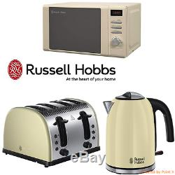 Cream Russell Hobbs Stainless Steel Microwave Kettle 4 Slice Toaster Kitchen Set