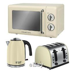 Cream Toaster Kettle Microwave Set Sale Cheap Kitchen Russell Hobbs RHRETMM705C