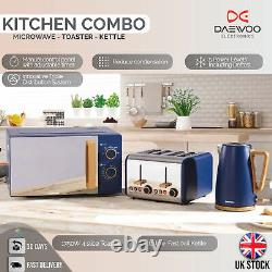 Daewoo Blue 20L 700W Skandia Microwave & Kettle 1.7 with 4 Slice Toaster NEW SET