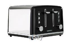 Daewoo Kensington 1.7L Pyramid Kettle, 4 Slice Toaster & 20L Microwave Set- Black