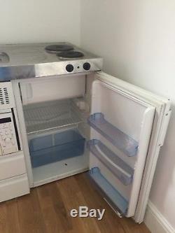Elfin Mini Kitchen Sink Unit & Tap, Double Electric Hob, Fridge & LG Microwave