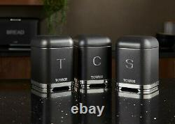 Glitz Kettle 4-Slice Toaster Bread Bin Canisters & Microwave Set of 5 in Black