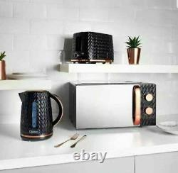 Goodmans Black and Copper Textured Effect Microwave Kettle and Toaster