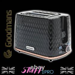 Goodmans Black and Rose Gold Textured Effect Microwave Kettle and Toaster Set