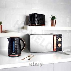 Goodmans Kitchen Set Microwave Toaster & Kettle Black & Copper Textured 3pc