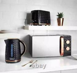 Gorgeous Goodmans Black & Copper Textured Effect Microwave Toaster & Kettle Set