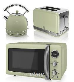 Green Swan Dome Kettle Fast Boil & Toaster and Microwave Set Stainless Steel NEW