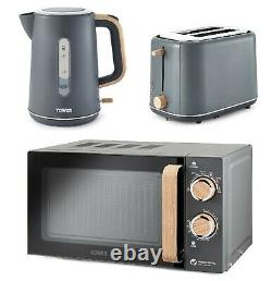 Grey Wood Kitchen Set of Microwave Electric Kettle and Toaster Tower Scandi NEW