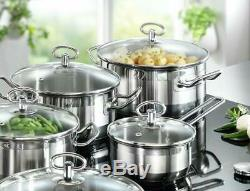 Induction Hob Cookware Pan Set 20 Piece Stainless Steel Kitchen Pots Bowls New