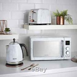 Marble Effect Microwave Kettle 2 Slice Toaster Kitchen Set 3 Piece Set NEW
