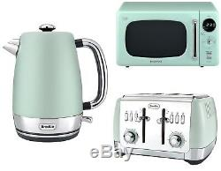 Mint Green Daewoo Retro Design Microwave + Breville Kettle & Toaster Kitchen Set