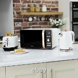 Modern Kitchen Set Microwave Jug Kettle Toaster Tower Combo White and Rose Gold