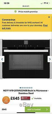 NEFF N70 C17UR02N0B Built-in Solo Microwave Stainless Steel New £650