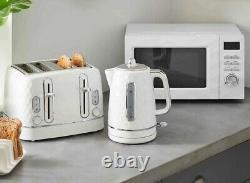 NEW Kitchen Set Microwave Toaster & Kettle White Diamond Pattern Textured 3pc