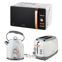 NEW Tower Kettle 2 Slice Toaster & Microwave Set White Marble Effect/Rose Gold