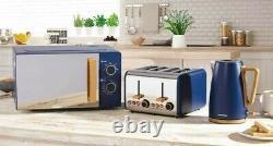 New Daewoo Skandia Blue KETTLE TOASTER & MICROWAVE 20L SET Wood Effect Kitchen