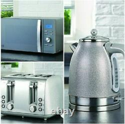 New Sparkle Grey Silver Kettle, Toaster & Microwave Appliance Set Wow Stunning