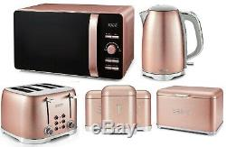 Pink Set Tower Microwave Jug Kettle 4-Slice Toaster Bread Bin Storage Canisters