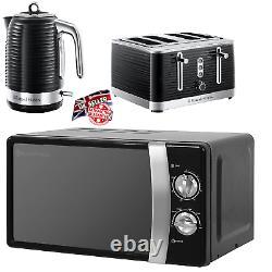 RUSSELL Hobbs Kettle 4 Slice Toaster & Microwave Matching Kitchen Set Black UK