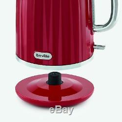 Red Breville Kettle and Toaster Set & Russell Hobbs Microwave & Canister Set New