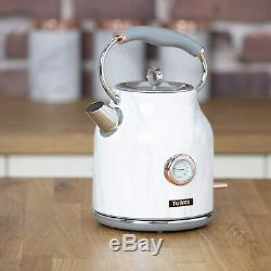 Rose Gold 11-Piece Kitchen Tower Marble Set Kettle Toaster Microwave Storage Set