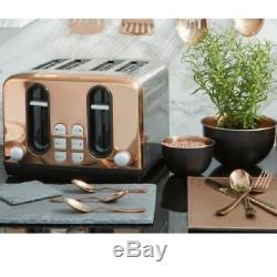 Rose Gold Copper Effect Microwave Pyramid Kettle 4 Slice Toaster Set Kitchen New