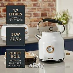 Rose-Gold Tower Set Bottega Microwave Jug Kettle and 4-Slice Toaster Kit White