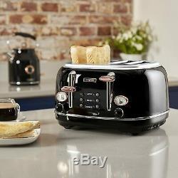 Rose-Gold Tower Set Microwave Jug Kettle 4-Slice Toaster and Slow Cooker Black