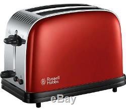 Russell Hobbs Colours Plus Kettle and Toaster Set & Manual Red Microwave New
