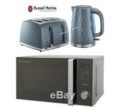 Russell Hobbs Honeycomb Grey Kettle and Toaster Set & Silver Microwave New