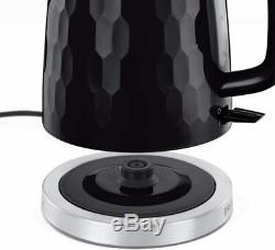 Russell Hobbs Honeycomb Kettle and Toaster Set with Heritage Microwave Black