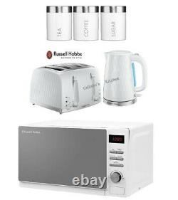 Russell Hobbs Honeycomb Kettle and Toaster With Microwave & Canisters White