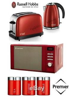 Russell Hobbs Kettle New Toaster & Microwave & Red Tea Coffee Sugar Canister Set
