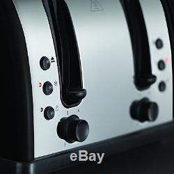 Russell Hobbs Microwave Kettle and Toaster Set Jug Kettle & 4 Slot Toaster Black