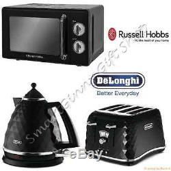 Russell Hobbs Retro Microwave + DeLonghi Brillante Kettle 4 Slice Toaster Black