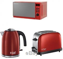 Russell Hobbs Rosso Microwave Metallic Red Colours Plus Kettle & 2 Slice Toaster