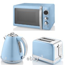 SWAN Retro Blue Kitchen Set of 3 Jug Kettle 2 Slice Toaster Digital Microwave