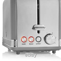 SWAN Retro Dome Kettle 2 Slice Toaster & Microwave Kitchen Matching Set Grey