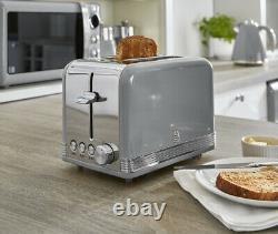 SWAN Retro Dome Kettle 2 Slice Toaster & Microwave Vintage Kitchen Set Grey