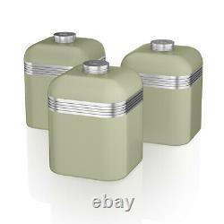 SWAN Retro Kitchen Set of 7 Green Kettle Toaster Microwave Breadbin & Canisters