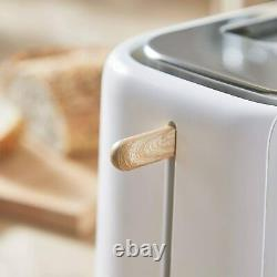 Scandinavian Set Tower Scandi Microwave Electric Kettle and Toaster WHITE & WOOD