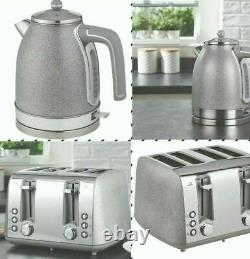 Sparkle Grey Silver Kitchen Appliances Kettle Toaster Bin (BEAUTIFY UR HOME)